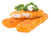 Heap of fried Fish with Remoulade — Stock Photo