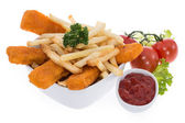 Fish and Chips with Ketchup — Stock Photo