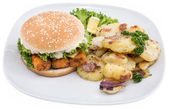 Plate with fried Potatoes and a Fish Burger — Stock Photo