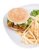 Fish Burger with Chips isolated on white — Stock Photo