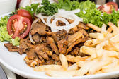 Fresh Chips with Kebab meat — Stock Photo