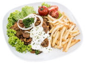 Plate with Chips and fresh Kebab on white — Stock Photo