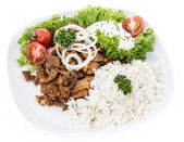Plate with Kebab and Rice on white — Stock Photo