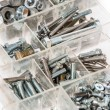 Set of Screws and Nails on white — Stock Photo
