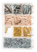 Screws and Nails in boxes — Stock Photo