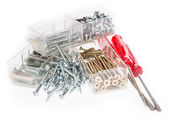 Different Screws with Screwdrivers — Stock Photo