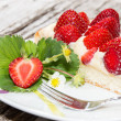 Plate with fresh Strawberry Pie — Stok fotoğraf