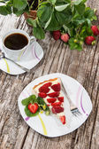 Stawberry Cake and a cup of Coffee — Stock Photo