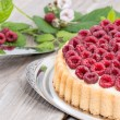 Raspberry Tart against wood — Stock Photo #12613299