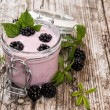 Blackberry Yogurt with fresh fruits — Stock Photo