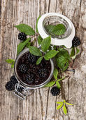 Blackberry Jam in a glass — Stock Photo