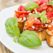 Bruschetta on a plate - Stock Photo