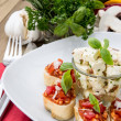 Antipasto (Bruschetta and Feta) — Stock Photo