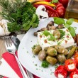 Mixed Antipasto on a plate — Stock Photo