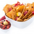 Bowl with Nachos isolated on white — Foto de Stock