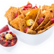 Bowl with Nachos isolated on white — Stock Photo