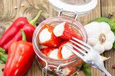 Vidro enchido com paprika — Fotografia Stock