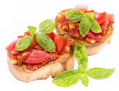 Fresh Bruschetta on white — Stock Photo