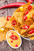 Bowl with Nachos and Cheese Sauce — Stock Photo