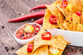 Bowl of Nachos with Salsa Sauce — Stock Photo
