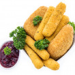 Different sorts of fried Cheese on white — Stockfoto