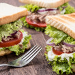 Fresh made TunSandwiches on wood — Stock Photo #13130944