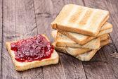Jam on toast — Stock Photo