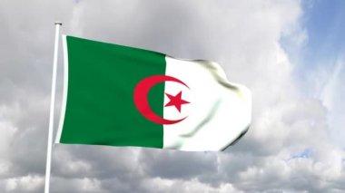 Flagga från den demokratiska folkrepubliken algeriet — Stockvideo