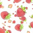Stock Video: Falling strawberries