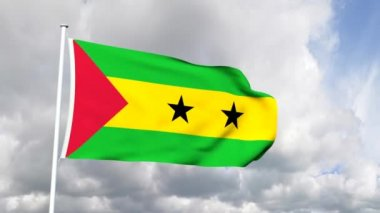 Flag of Sao Tome and Principie — Stock Video