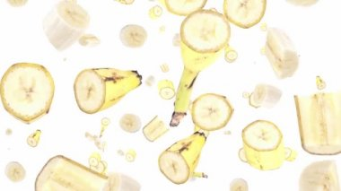Falling banana pieces — Stockvideo