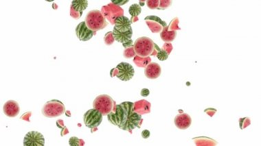 Falling watermelons shaping heart — Vídeo Stock