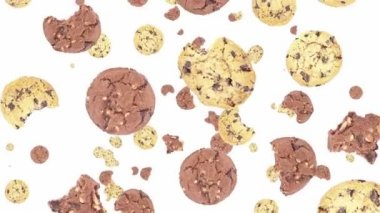 Falling brown and white cookies — Vídeo Stock