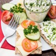 Plate with Crispbread and Cream Cheese — Stock Photo #13248723