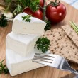Camembert pieces with Crispbread — Stock Photo