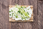 Crispbread with Creme Cheese and Chives — Stock Photo