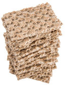 Heap of Crispbread isolated on white — Stock Photo