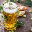 Big mug of Beer with hop - Stock Photo