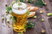 Big mug of Beer with hop — Stock Photo