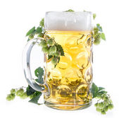 Mug of Beer on white — Stock Photo