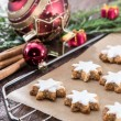 Cinnamon-flavoured star-shaped biscuits — Stock Photo