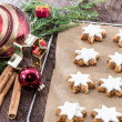 Stock Photo: Cinnamon-flavoured star-shaped biscuits