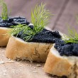 Stock Photo: Baguette with Caviar