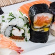 Mixed Sushi rolls on a plate — Stock Photo