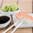 Nigiri Sushi with Soy Sauce and Wasabi — Stock Photo
