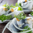 Herring Filet on small plates — Stock Photo