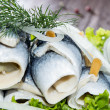 Fresh Herring Filet on a plate — Stock Photo #13877714