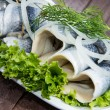Fresh Herring Filet on a plate — Stock Photo #13877719