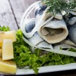 Fresh Herring Filet on a plate — Stock Photo