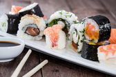 Different types of Sushi on a plate — Stock Photo